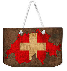 Map Of Switzerland With Flag Art On Distressed Worn Canvas Weekender Tote Bag