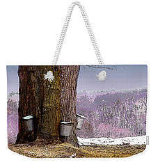 Weekender Tote Bag featuring the digital art Maple Buckets by Nancy Griswold