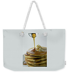 Maple Syrup Being Poured Onto A Stack Of Pancakes Weekender Tote Bag