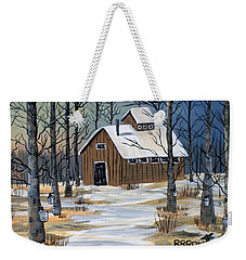 Weekender Tote Bag featuring the painting Maple Syrup Shack by Brenda Brown