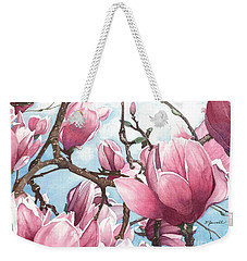 Weekender Tote Bag featuring the painting March Magnolia by Barbara Jewell