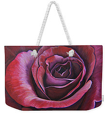 Weekender Tote Bag featuring the painting March Rose by Thu Nguyen