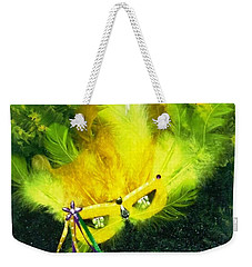 Weekender Tote Bag featuring the painting Mardi Gras On Green by Alys Caviness-Gober
