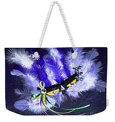 Weekender Tote Bag featuring the painting Mardi Gras On Purple by Alys Caviness-Gober
