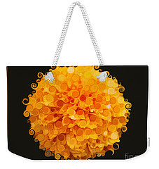 Weekender Tote Bag featuring the painting Marigold Magic Abstract Flower Art by Omaste Witkowski