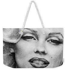 Weekender Tote Bag featuring the painting Marilyn Monroe - Close Up by Jani Freimann