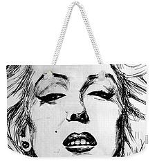 Weekender Tote Bag featuring the painting Marilyn Monroe by Salman Ravish