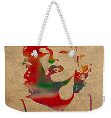 Marilyn Monroe Watercolor Portrait On Worn Distressed Canvas Weekender Tote Bag