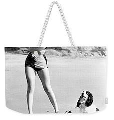 Marilyn Playing Baseball At The Beach Weekender Tote Bag