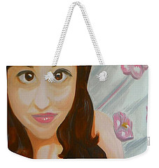 Weekender Tote Bag featuring the painting Marisela by Marisela Mungia