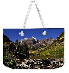 Weekender Tote Bag featuring the photograph Maroon Bells by Jeremy Rhoades