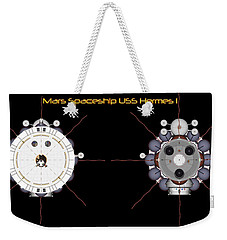 Weekender Tote Bag featuring the digital art Mars Spaceship Hermes1 Front And Rear by David Robinson
