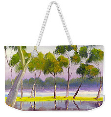 Weekender Tote Bag featuring the painting Marshlands Murray River Red River Gums by Pamela  Meredith