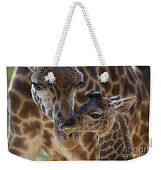 Weekender Tote Bag featuring the photograph Masai Giraffe And Calf by San Diego Zoo