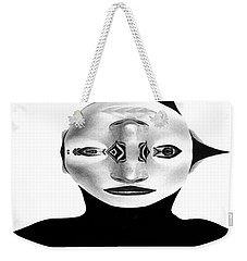 Weekender Tote Bag featuring the painting Mask Black And White by Rafael Salazar
