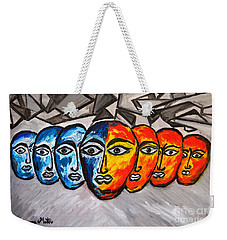 Weekender Tote Bag featuring the painting Masks by Ramona Matei