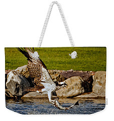 Weekender Tote Bag featuring the photograph Master Fisherman by Jack Bell