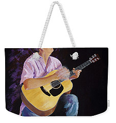 Weekender Tote Bag featuring the painting Master In The Spotlight by Margaret Bobb
