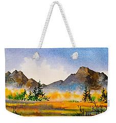 Weekender Tote Bag featuring the painting Matanuska Autumn by Teresa Ascone