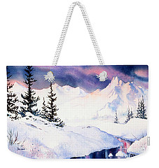 Weekender Tote Bag featuring the painting Matanuska Sunset Impression by Teresa Ascone