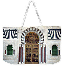 Weekender Tote Bag featuring the photograph Mausoleum Doors by Donna Corless