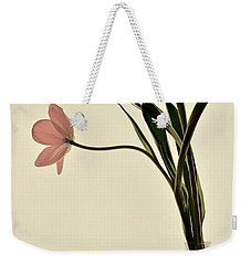 Mauve Tulips In Glass Vase Weekender Tote Bag
