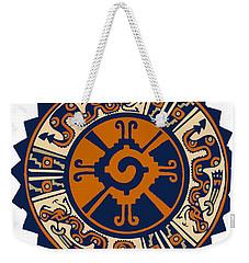 Weekender Tote Bag featuring the digital art Mayan Hunab Ku by Vagabond Folk Art - Virginia Vivier