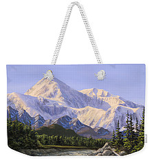 Majestic Denali Mountain Landscape - Alaska Painting - Mountains And River - Wilderness Decor Weekender Tote Bag