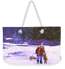 Weekender Tote Bag featuring the painting Me And My Buddy by Sophia Schmierer