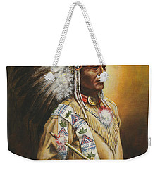 Weekender Tote Bag featuring the painting Medicine Chief by Kim Lockman