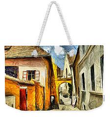 Medieval Street In Sighisoara Transylvania Romania - Painting Weekender Tote Bag
