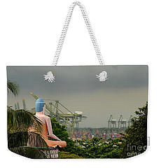 Weekender Tote Bag featuring the photograph Meditating Buddha Views Container Seaport Singapore by Imran Ahmed