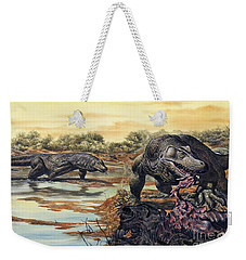 Megalania Giant Monitor Lizard Eating Weekender Tote Bag