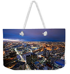 Melbourne At Night Weekender Tote Bag by Ray Warren