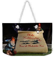 Mele Kalikimaka Sign And Elves Weekender Tote Bag