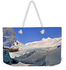 Weekender Tote Bag featuring the photograph Mendenhall Glacier Refraction by Cathy Mahnke