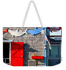 Menemsha Fish Market 3 Weekender Tote Bag by Kathy Barney