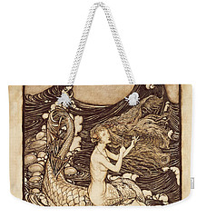Mermaid And Dolphin From A Midsummer Nights Dream Weekender Tote Bag by Arthur Rackham