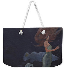 Mermaid And The Blue Fish Weekender Tote Bag