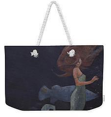 Mermaid And The Blue Fish Weekender Tote Bag