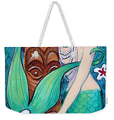 Weekender Tote Bag featuring the painting Mermaid's Tiki God by Sue Halstenberg