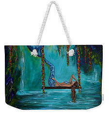 Mermaids Tranquility Weekender Tote Bag by Leslie Allen