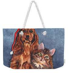 Weekender Tote Bag featuring the painting Merry Christmas by Carol Wisniewski