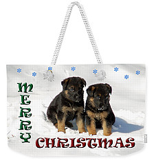 Merry Christmas Puppies Weekender Tote Bag by Aimee L Maher Photography and Art Visit ALMGallerydotcom