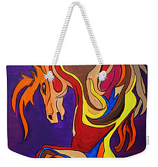 Weekender Tote Bag featuring the painting Merry Go Round Carousel Horse by Janice Rae Pariza