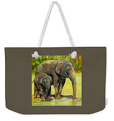 Thirsty, Methai And Baylor, Elephants  Weekender Tote Bag