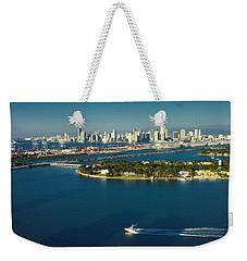 Miami City Biscayne Bay Skyline Weekender Tote Bag