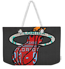 Miami Heat Basketball Team Retro Logo Vintage Recycled Florida License Plate Art Weekender Tote Bag by Design Turnpike