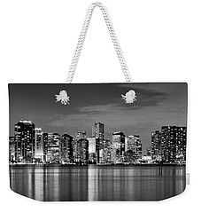 Miami Skyline At Dusk Black And White Bw Panorama Weekender Tote Bag