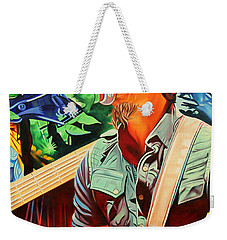 Weekender Tote Bag featuring the painting Michael Kang At Horning's Hideout by Joshua Morton